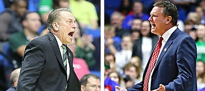 KU coach Bill Self, right, and longtime friend and foe Tom Izzo of Michigan State, left, have squared off in some memorable college basketball battles on the biggest and brightest stages throughout their careers.