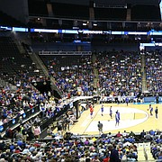 A sizable crowd attended the Jayhawks' open practice on Wednesday at Sprint Center in Kansas City, Mo.