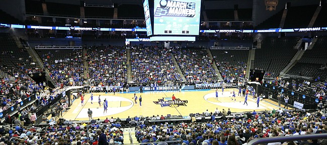 A sizable crowd attended the Jayhawks' open practice on Wednesday, March 22, 2017, at Sprint Center in Kansas City, Mo.