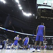 Kansas forward Landen Lucas (33) turns for a shot during a day of practices and press conferences prior to Thursday's game at Sprint Center in Kansas City, Mo.