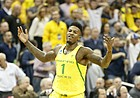Oregon forward Jordan Bell (1) celebrates following the Ducks' win, Thursday, March 23, 2017 at Sprint Center in Kansas City, Mo.
