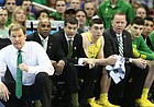 Oregon head coach Dana Altman watches from the floor during the first half, Thursday, March 23, 2017 at Sprint Center in Kansas City, Mo.