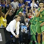 Oregon guard Tyler Dorsey (5) quiets the KU fanbase after a three late during the second half on Saturday, March 25, 2017 at Sprint Center.