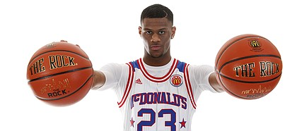 Kansas commitment Billy Preston, the No. 8 player in the Class of 2017 according to Rivals.com, at this year's McDonald's All-American Game in Chicago.