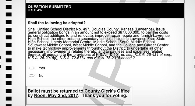 This sample ballot shows the bond issue that will be mailed to Lawrence USD 497 residents as early as April 12, 2017.