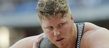 Ryan Crouser of the United States competes in the men's shot put event at the IAAF Diamond League athletics meeting at Stade de France stadium in Saint Denis, north of Paris, France, Saturday Aug. 27, 2016. (AP Photo/Michel Euler)