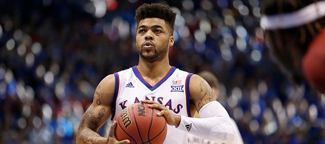 Kansas guard Frank Mason III (0) takes a deep breath before a free throw during the second half, Saturday, Feb. 4, 2017 at Allen Fieldhouse.
