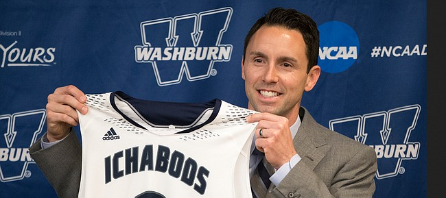 Brett Ballard is introduced as the new head coach at Washburn University during a press conference on Monday, April 10, 2017. Ballard is replacing Bob Chipman, who led the Ichabods with over 800 wins in his 38 years as  Washburn's head coach.
