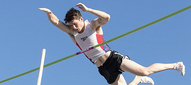 Nick Meyer vaults over the bar in the Kansas Relays' Street Pole Vault event on Thursday. Meyer took first place in the men's event.