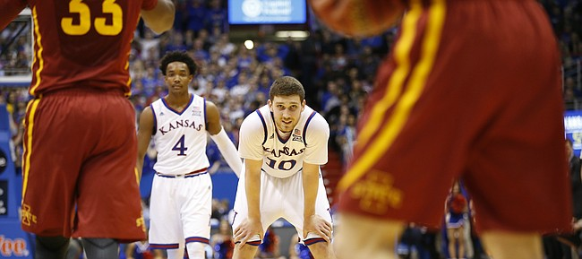 Kansas guard Sviatoslav Mykhailiuk (10) watches as the Iowas State defense brings the ball up during the second half, Saturday, Feb. 4, 2017 at Allen Fieldhouse.