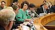 Sen. Carolyn McGinn, center, R-Sedgwick, leads a meeting of the Senate Ways and Means Committee on Friday in advance of lawmakers returning to the Statehouse Monday for the start of the final phase of the 2017 session.