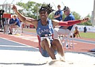 Kansas senior Sydney Conley competes in the women's long jump at the Big 12 track and field championships on Saturday at Rock Chalk Park. Conley won the event with a jump of 22 feet, 2.25 inches — which she recorded on her first attempt.