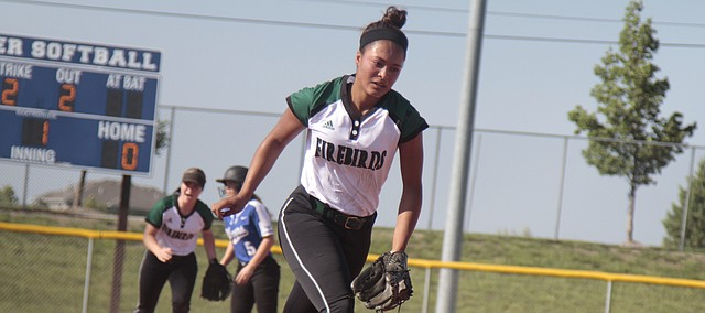 Free State senior Mayah Daniels runs to the dugout after striking out Gardner-Edgerton's Mikayla Galvin to get out of a jam in the first inning of the Firebirds' 10-0 run-rule loss to the Trailblazers on Tuesday in the Class 6A regional semifinals.