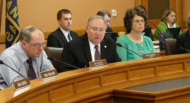 Sen. Jim Denning, center, tells the Senate Select Committee on Education Finance that a surcharge on utility bills is needed to fund an increase in education funding because sales tax revenues that go into the state general fund have been declining, mainly due to increased online shopping.