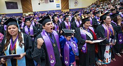 "The 2017 Haskell Indian Nations University graduating class sings ""Onward Haskell"" at the end of the Commencement at Coffin Sports Complex on Friday, May 19, 2017."
