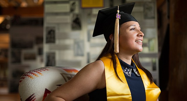 Haskell Indian Nations University graduating senior Samantha Milk of Lawrence, an Oglala Lakota tribe member,  is receiving her bachelor's degree in environmental science. Milk plans to work for the U.S. Geological Survey after graduation.