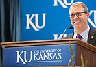 Dr. Doug Girod, executive vice chancellor of the KU Medical Center, speaks with media members after being named as the 18th chancellor of the University of Kansas on Thursday, May 25, 2017 at the Lied Center.