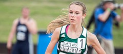 Free State's Emily Venters runs the 1600 meter run at the Track and Field State Championship meet on Saturday afternoon in Cessna Stadium. Venters won the Class 6A 1600 meter run with a time of four minutes 59 seconds.