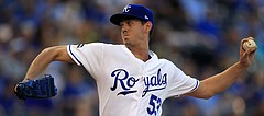 Kansas City Royals starting pitcher Eric Skoglund delivers to a Detroit Tigers batter during the first inning of a baseball game at Kauffman Stadium in Kansas City, Mo., Tuesday, May 30, 2017.