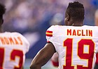 Jeremy Maclin during the Kansas City Chiefs at Indianapolis Colts NFL football game on Sunday, Oct. 30, 2016, in Indianapolis. (Doug McSchooler via AP)
