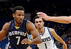 FILE — Wayne Selden Jr., left, drives as Minnesota Timberwolves' Tyus Jones, center, and Cole Aldrich defend during the second half of an NBA preseason basketball game Wednesday, Oct. 19, 2016, in Minneapolis. Selden on March 7, 2017, agreed to a 10-day contract with the New Orleans Pelicans. (AP Photo/Jim Mone)