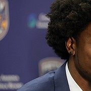 Phoenix Suns first round NBA basketball draft pick Josh Jackson speaks to the media, Friday, June 23, 2017, in Phoenix.