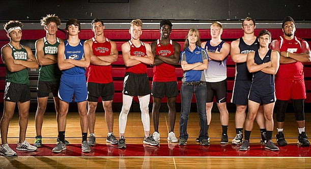 The Journal-World's 2017 All-Area boys track and field team, from left, Avant Edwards, Free State; Cole Phillips, Free State; Shane Quinlan, Perry-Lecompton; Hunter Krom, Lawrence; Harrison King, Lawrence; James Reeder Lawrence; Coach of the Year Kasi Packard, Perry-Lecompton; Blake Adamson, Baldwin; Chance Sterba, Eudora; Braeden Manley, Eudora; Athlete of the Year LeeRoi Johnson, Tonganoxie.