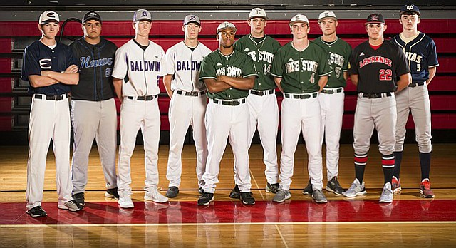 The Journal-World's 2017 All-Area baseball team, from left, Peyton Garvin, Eudora; Tristan Damme, Perry-Lecompton; Josh Craig, Baldwin; Adam Carlson, Baldwin; Player of the Year Zion Bowlin, Free State; Dale Miller, Free State; Daniel Bryant, Free State; Nate Strathman, Free State; Devin Lauts, Lawrence; Tucker Flory, Veritas Christian.