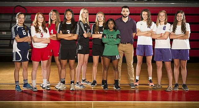 The Journal-World's 2017 All-Area girls soccer team, from left, Emily Heinz, Bishop Seabury; Amanda Martin, Tonganoxie; Rachel Schuck, Tonganoxie; Anna Chieu, Lawrence; Player of the Year Skylar Drum, Lawrence; Leslie Ostronic, Lawrence; Maya Hodison, Free State; Coach of the Year Drew Ising, Baldwin; Josie Boyle, Baldwin; Taylor Cawley, Baldwin; Caitlin Countryman, Baldwin.