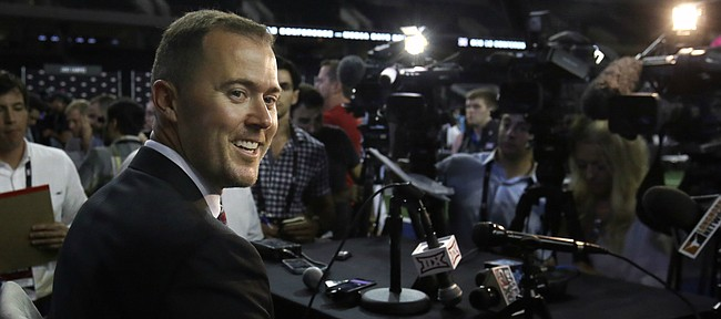 Oklahoma head coach Lincoln Riley in his first appearance at Big 12 Football Media Days.