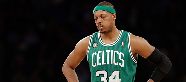 Boston Celtics forward Paul Pierce (34) reacts in the first half of Game 5 of their first-round NBA basketball playoff series at Madison Square Garden in New York, Wednesday, May 1, 2013.