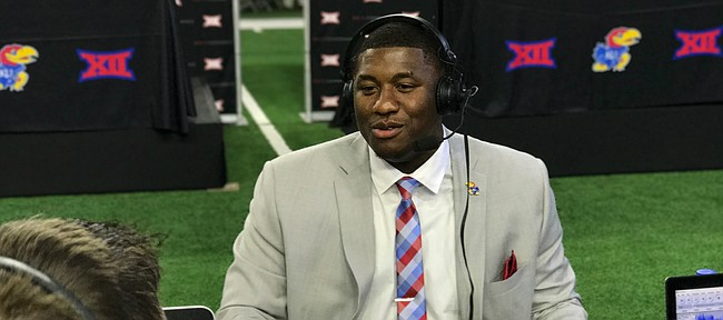 Kansas junior defensive tackle Daniel Wise answers questions during a radio interview at Big 12 Media Days, in Frisco, Texas, on July 17, 2017.