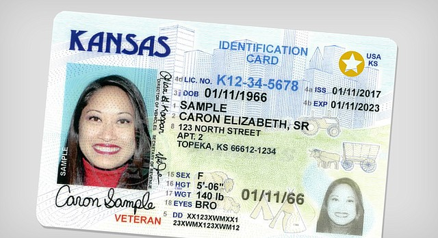 "A new Kansas driver's license design, announced Thursday, Aug. 3, 2017, includes either a gold circle with a white star cutout proving the holder is lawfully in the U.S. and that it is acceptable federal identification, or the words ""not for federal ID."""