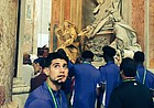 Kansas guard Sam Cunliffe glances back in awe at the ceiling of St. Peter's Basilica during the Jayhawks' tour of Vatican City on Thursday, Aug. 3, 2017.