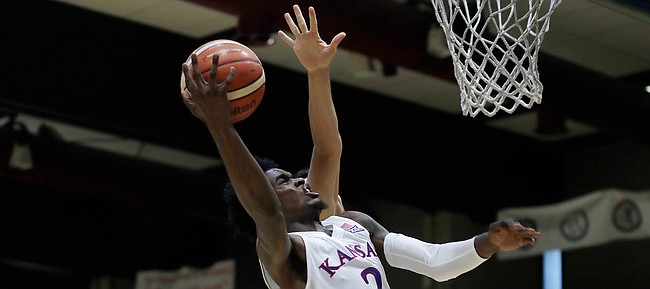 Kansas guard Lagerald Vick drives hard to the rim during a basketball match between Kansas University and an Italian selection of players, in Seregno, near Milan, Italy, Saturday, Aug. 5, 2017.