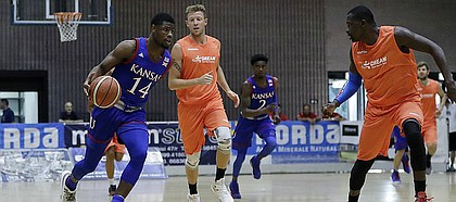 Kansas guard Malik Newman, left, in action during an exhibition game between KU and Italy All Star A2, in Seregno, near Milan, Italy, Sunday, Aug. 6, 2017.