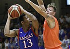 Kansas forward K. J. Lawson, left, looks to score after receiving a pass from Devonte' Graham during a basketball match between KU and Dream Team Italy in Seregno, near Milan, Italy, Sunday, Aug. 6, 2017. Lawson finished with nine points and nine rebounds and Graham tallied 10 assists in the 118-74 Kansas victory.