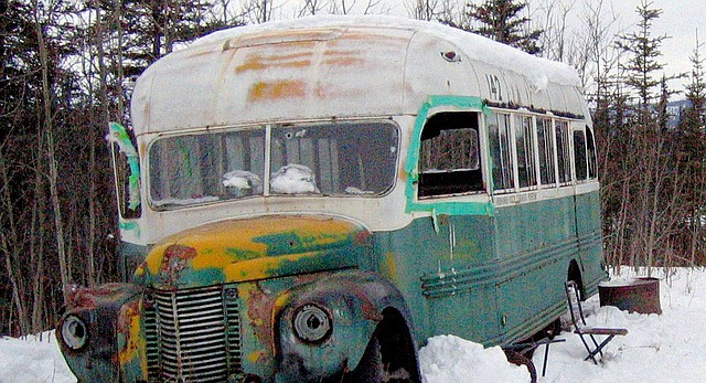 "The abandoned bus where Christopher McCandless starved to death in 1992 is seen in this March 21, 2006, photo on the Stampede Road near Healy, Alaska. Sean Penn's 2007 movie ""Into the Wild"" and Jon Krakauer's book of the same name have caused people from all over the world to retrace McCandless' steps to this 1940s-era International Harvester bus where his body was found."