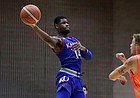 Kansas guard Malik Newman looks to pass in an exhibition game between KU and Italy All Star A2, in Seregno, near Milan, Italy, Sunday, Aug. 6, 2017.