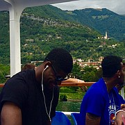 Kansas guards Malik Newman, left, and Devonte' Graham share a laugh from the back of the boat during the Jayhawks' tour of Lake Como, just north of Milan, Italy, on Monday, Aug. 7, 2017.