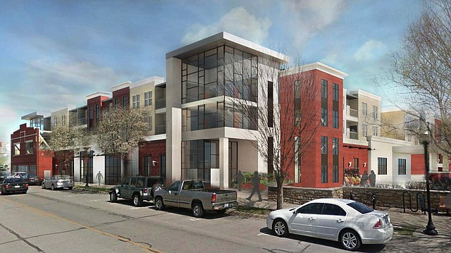 A rendering shows a proposed grocery store and apartment building at 700 New Hampshire St.