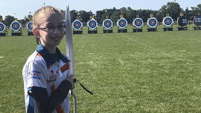 Adriana Cain, a Chicago resident and sixth-grader at Lawrence Virtual School, earned first- and second-place scores at the U.S.A. Archery Outdoor National Championships in August 2017 in Indianapolis.