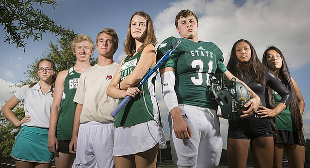 Free State fall sports athletes pictured from left are Tori Hoopingarner, golf, Jack Kelsey, cross country, Nicholas Howard, soccer, Ali Dodd, tennis, David Johnson, football, Kaliyah Townsend, gymnastics and Ashley Giago, cross country. All athletes pictured are seniors, except for Townsend, who is a junior.