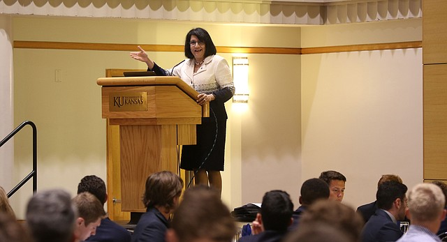"Executive Vice Chancellor Neeli Bendapudi speaks to University of Kansas fraternity men at the ""Building Brothers: A Freshman Orientation"" event in the ballroom of the Kansas Union on Aug. 24, 2017."