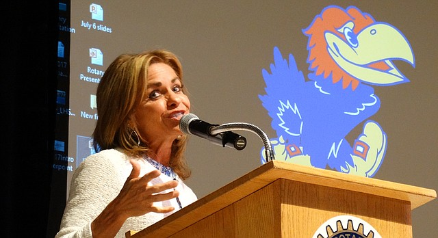 U.S. Rep. Lynn Jenkins addresses the Jayhawk Rotary Club in Lawrence on Thursday, Aug. 24, 2017, saying she's leaving Congress after this term out of frustration over bitter partisanship in Washington.