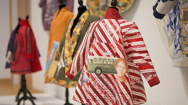 "The image of Claudetta Colvin and the story of her contributions to the Civil Rights movement are incorporated in one of eight quilted swing coats from the series ""Tributes to Civil Rights Movement Heroines"" by artist Patricia A. Montgomery at the Spencer Museum of Art."