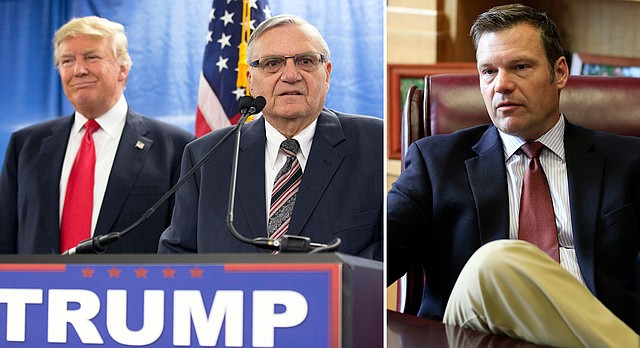 In the AP file photo at left, from January 2016, then Republican presidential candidate Donald Trump, left, is joined by then Maricopa County, Ariz., Sheriff Joe Arpaio. At right, Kansas Secretary of State Kris Kobach is shown in his office in Topeka in May 2017.