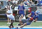 Kansas wide receiver Chase Harrell (3) pulls in an acrobatic catch in the end zone during the first quarter on Saturday, Sept. 2, 2017 at Memorial Stadium.