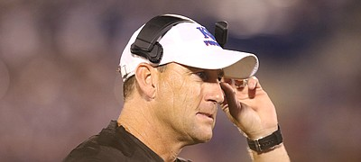 Kansas head coach David Beaty watches the action during the fourth quarter on Saturday, Sept. 2, 2017 at Memorial Stadium.