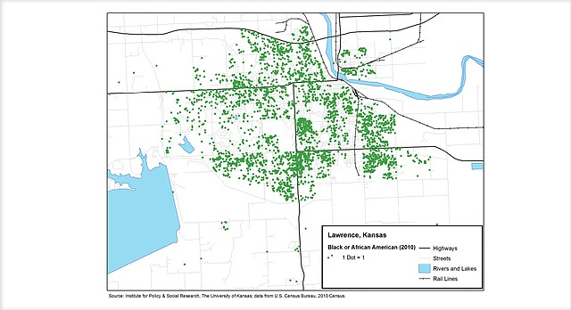 This map of Lawrence from the 2010 census shows that much of the African-American population in the city at that time was concentrated on the University of Kansas campus and in neighborhoods south of 23rd Street, east of Iowa Street. Source: Institute for Policy and Social Research, The University of Kansas.